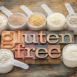 Gluten free flours and typography — Stock Photo