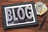 Blog word on digital tablet — Стоковое фото
