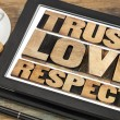 Stock Photo: Trust, love and respect words