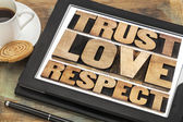 Trust, love and respect words — Stockfoto