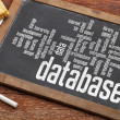Database word cloud on blackboard — Stock Photo