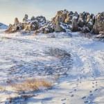 Sandstone outcropping on prairie — Stock Photo