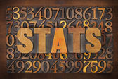 Stats (statistics) word in wood type — Stock Photo