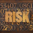 Stock Photo: Risk word in wood type