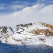 Mountain lake and road in winter — Stock Photo #40533241