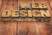 Web design in wood type — Stock Photo