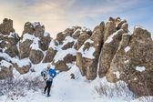 Winter hiking at Natural Fort — Stock Photo