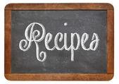 Recipes word on blackboard — Stock Photo