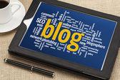 Blog word cloud on digital tablet — Foto Stock