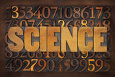 Science word and numbers in wood type — Stock Photo