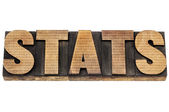 Stats in wood type with numbers — Stock Photo