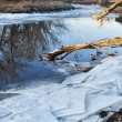 Stock Photo: Poudre River with icy shores