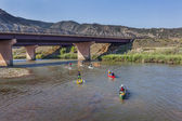 Paddle race on Colorado River — Stock Photo