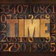 Stock Photo: Time word in wood type