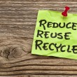 Stock Photo: Reduce, reuse and recycle note