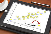 Outlier concept on a digital tablet — Stock Photo