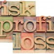 Risk, profit, loss words in wood type — Stock Photo