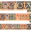 Society, economy, environment — Stock Photo