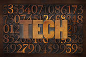 Tech word in wood type — Photo