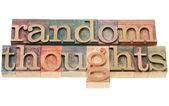 Random thoughts in wood type — Stock Photo