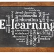 E-learning word cloud on blackboard — Stock Photo
