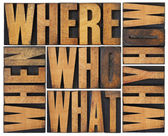 Questions abstract in wood type — Stock Photo
