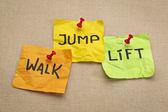 Walk, jump, lift - fitness concept — Stockfoto