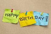 Happy birthday on sticky notes — Stock Photo