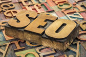 SEO acronym in wood type — Stock Photo