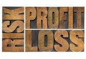 Risk, profit, loss - word abstract — Stockfoto