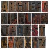 Alphabet in old dark wood type — Stock Photo