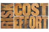 Cost, effort, risk - business concept — Stock Photo