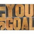 Set your goals in wood type — Stock Photo