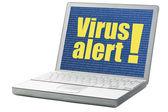 Alerta de virus en un ordenador portátil — Foto de Stock