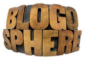 Blogosphere word in wood type — Stock Photo