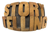 Storytelling word in wood type — Stock Photo