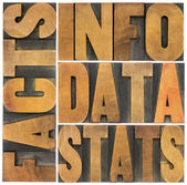 Information, data, facts, stats words — Stock Photo