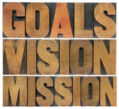 Goals, vision and mission — 图库照片