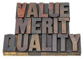 Value, merit, quality — Stock Photo