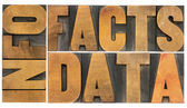 Information, data, facts in wood type — Stock Photo