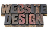 Website design in wood type — Stock Photo