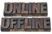 Online and offline in wood type — Stock Photo