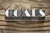 Goals word in metal type — Stock Photo
