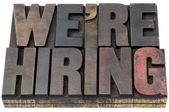 We are hiring in wood type — Stock Photo