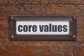 Core values - file cabinet label — Stock Photo