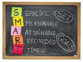Set smart goals on blackboard — Stock Photo