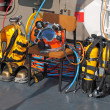 Equipment for diving on the deck of a ship — Stock Photo