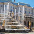 Foto Stock: Grand Cascade Fountains At Peterhof Palace garden, St. Petersburg