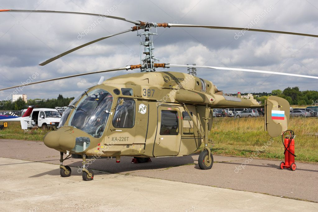 ZHUKOVSKY, RUSSIA - AUG 19: Helicopter KA-226T on display at International aviation and space salon MAKS 2009 on August 19, 2009 in Zhukovsky, Russia — Stock Photo #18196395