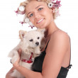 Stock Photo: Girl with doggie